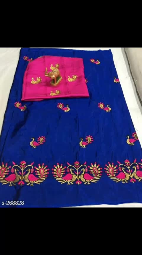 *Peacock Embroidered Two Tone Silk Sarees*
