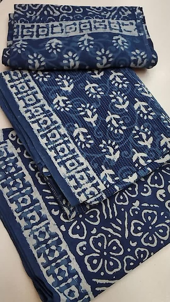 Rate:1250/-  🌹 pure cotton indigo suits 🌸🌸2.5 MTS  pure cotton Katha work top with indigo block print top🌸🌸  2.25 MTS soft cotton indigo block print salwar 🌸🌸2.25 mtsvery soft cotton block printed dupatta