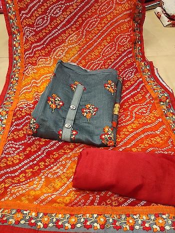 Chanderi Silk Salwar Suits Grab these only for 1199/-  TOP : Chanderi Silk + Embroidered  BOTTOM : Santoon Silk  DUPATTA : Chiffon + Bhandini Printed & Kashmiri work  To Order WhatsApp us (+91) 8097909000 * * * * #salwar #salwarsuits #dress #dresses #longsuits #dressmaterial #banarasisupatta #suitswithdupatta #suitsonline #embroidered #onlinefloralsuit #floral #printedsuits #printed #straightsuits #dupatta #designerdupattaonline