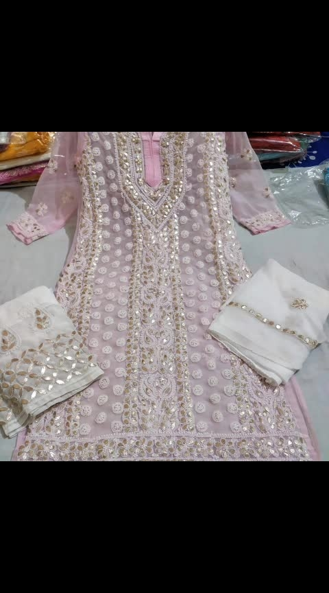 *RESTOCKED ON HUGE DEMAND*❤❤😍😍  Lucknowi handwork New collection of gota set👗👗👗👗 * 3pc of gota Patti set * Top full stitch kurti  * Fabric- chiffon * Length-46 * Size 40-44 * Work lucknowi    chikankari with fusion of gota Patti  🔆🔆🔆🔆🔆🔆🔆🔆 * Bottom- sharara * Fabric chiffon  sharara * Fusion with heavy gota * Length 40 * Fits up to 32 to 50 hip size 🔆🔆🔆🔆🔆🔆🔆🔆 * Dupatta diable chiffon with gotta Patti border n work * Length 2.5 mtr * Diable any colour * kurti+ dupatta + sharara   *Only single pcs of every colour grab fast*👆🏻👆🏻  *Available Colors*   *plz book fast*👆🏻👆🏻👆🏻👆🏻  ☘☘☘☘☘☘☘☘☘☘cwbA