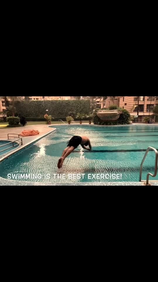 #swimming is amazing! This is the right weather... I usually do 50 laps of a 25 meter pool. Takes under an hour and the calories you burn are a lot! Must swim... it helps with pain and is very refreshing 😁 #getfitwithraghavsachar @kiaansachar