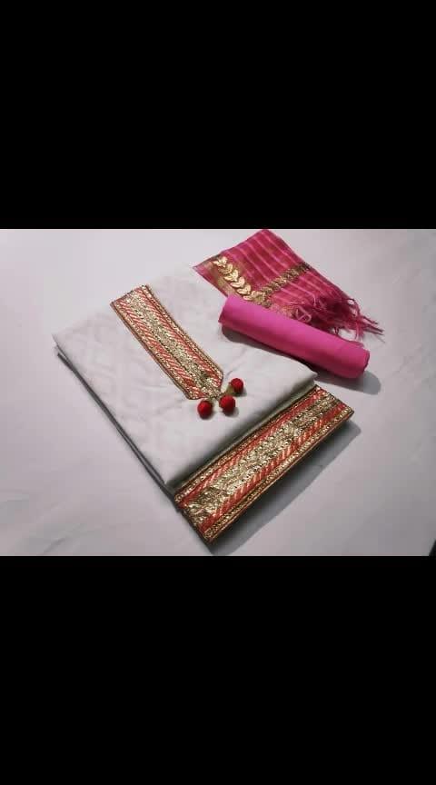 ☄☄ *#DHOOM* ☄☄  Top. .....Cotton Jacquard👘👘👘👘👘👘👘👘  Bottom... Cottan  👖👖👖👖👖👖👖👖 Dupatta... Banarsi Gota Patti work  🧣🧣🧣🧣🧣🧣🧣  Rs 520 +Shiping cost Extra