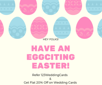 Hey Folks, Let's refer our website to your friends and family and both of you can get flat 20% discount on your wedding invitations from 123WeddingCards. Get details & Refer now: https://www.123weddingcards.com/refer-and-earn  #EasterisComing #WeddingsonEaster #EasterWeddings #EasterSavings #EasterSale #EasterOffers #Easter2019 #EasterDiscounts #WeddingCardsSale #WeddingInvitationsOffer #WeddingInvites #123WeddingCards