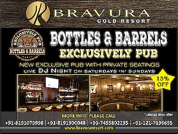 "Bravura Gold Resort presents the Exclusive PUB / BAR in Meerut ""Bottles 'n' Barrels"" with Live DJ BrexZone on every Saturday & Sunday, Wide LED Screen, New Exotic Menu, Live Bar-be-que, Grills & Roasts. Enjoy the all new classy ambience with your family & friends. Surround sound system that fills every corner and space of the PUB to give you a rich experience. Privacy seatings, cosy semi-enclosures mesmerise your senses at Bottles 'n' Barrels. To reserve your seats now, please visit us at http://www.bravuraresort.com or call us at 08191900048 or 08476886644"