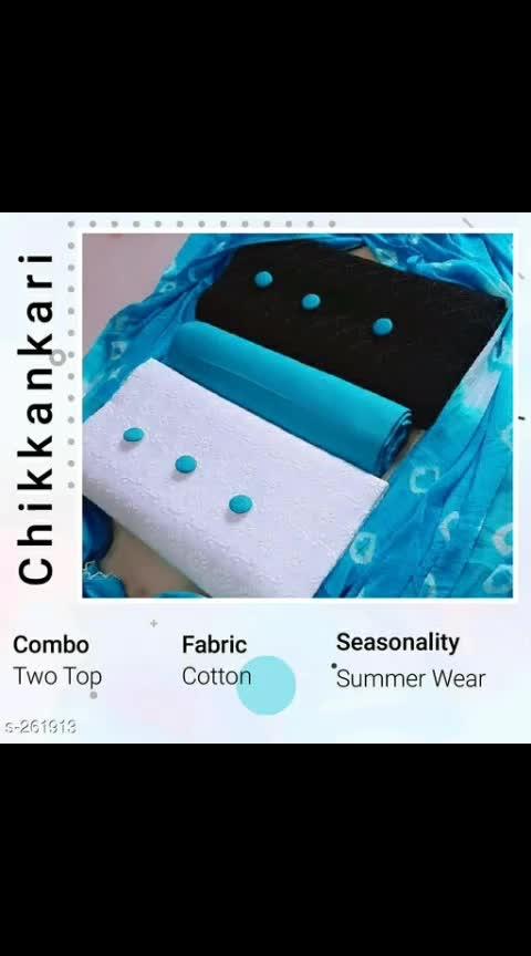 *Designer Chikankari Cotton Suits*    Fabric: Top - Pure Hakobachikan Cotton, Bottom - Pure Cotton, Dupatta - Pure Chiffon    Size: Top - 2 mtr, Bottom - 2 mtr, Dupatta - 2.25 mtr   Type: Un Stitched    Description: It Has 2 Pieces Of Tops, 1 Piece Of Bottom & 1 Piece Of Dupatta    Work: Top - Chikankari Work, Dupatta - Jaipuri Bandhani   Dispatch: 2 - 3 Days   Designs: 7    Easy Returns Available In Case Of Any Issue 725 Only #chikankari #chikanwork #jaipuribandhni #setof2 #unstiched #shopwithus #buyitnow #thebazaar #cashondelivery #followusonroposo