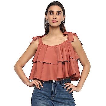 Casual Shoulder Strap Solid Women Brown Top  https://bit.ly/2UPHJuE