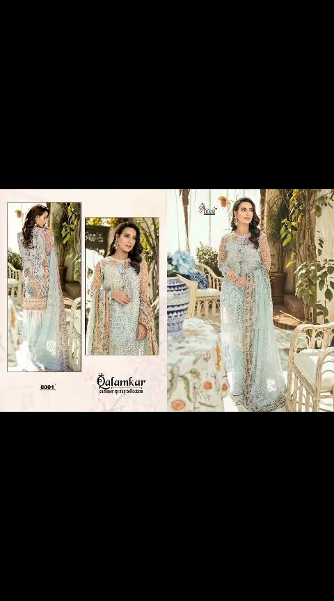 *Qalamkar Summer Spring Collection By Shree Fabs* 🌹  *_Fabric Details_* 👇🏻  *Top :* Cotton / Net with Heavy Embroidery / Shifli Work.. *Bottom :* Semi Lawn.. *Dupatta :* Chiffon Printed / Embroidered..  *Designs : 5*  @1599/- each    DM or whatsapp on 7013435938    ONCE BOOKING IS DONE WILL NOT GET CANCELLED. . . . .