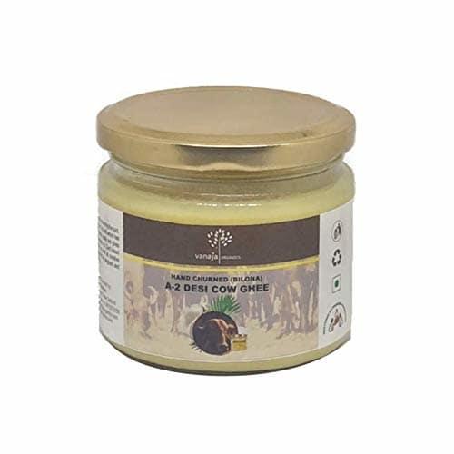 VANAJA ORGANICS A2 Desi Gir Cow Ghee Vedic Bilona Method Grass Fed Natural Organic (250 ml) Glass Jar Packaging  Click here for buy :https://amzn.to/2XyaV6b