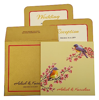 Love Bird Theme #Muslim #WeddingCard at #Cheap Price Range from #123WeddingCards!!  Product Code: I-1903 Price: $0.90 Invitation Type: #FoilStamped Paper Type: #MattPaper Sample Delivery: 3-5 Days Bulk Delivery: 7-10 Days  Make your orders today: https://www.123weddingcards.com/card-detail/I-1903 Shop All Muslim Wedding Cards: https://www.123weddingcards.com/muslim-wedding-cards-invitations  #themecards #lovebirdcards #muslimweddingcards #musliminvitations #sampleorder #freesamples #marriagecards #shaadicards #weddingcards #invitationcards