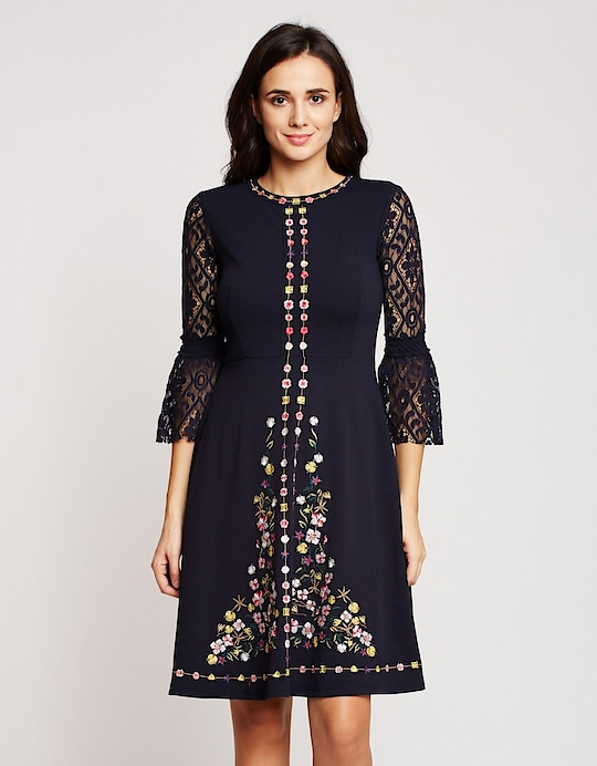 Madame - Navy Blue Embroidered Shift Dress  Link - https://www.glamly.com/product/navy-blue-embroidered-shift-dress/2415  #madamefashion #madame #dresses #roposo #womenfashion #roposodiaries2019