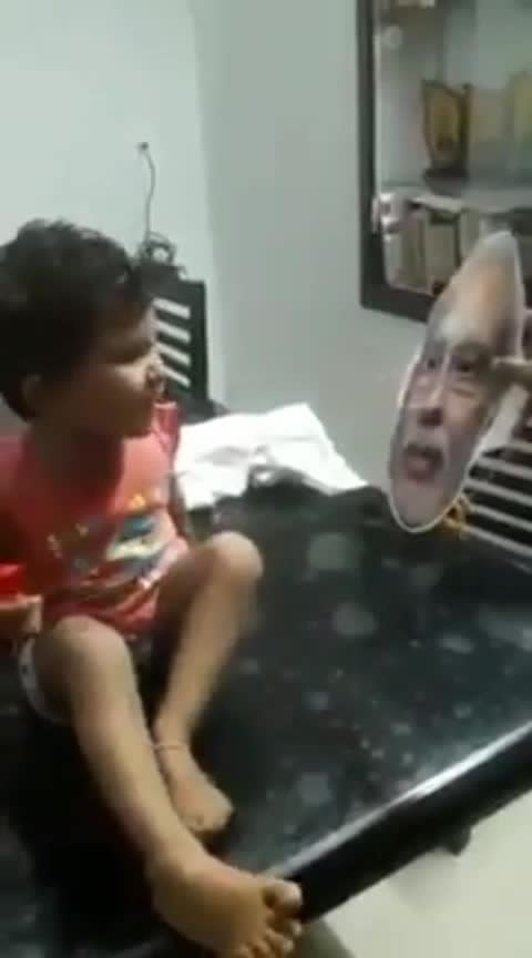 Humor #fun #scaring #kid #modi #face #mask #bjp #politics #leader #PM #father #son #daughter #screaming #fear #don't #show #it #again #indian #parents #house #tricks #bed #comedy #again