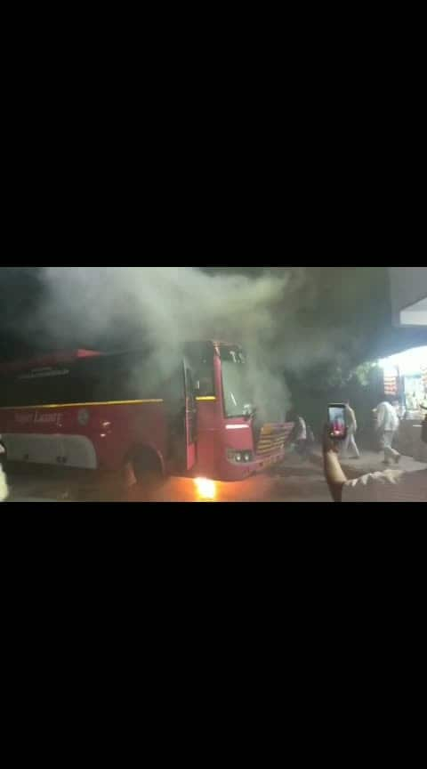 Bus catches fire with Short circuit in Jagityal Bus stand.