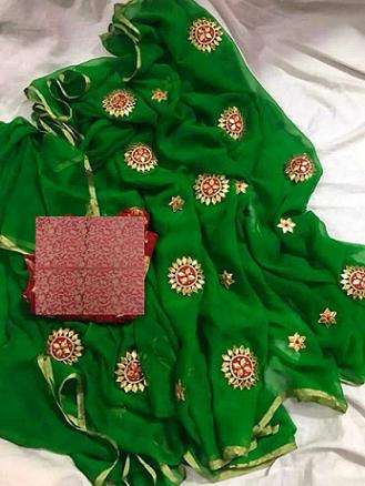 *****Ethnic look**** Festive wear Georgette saree with Gota patti work with contrast jacquard blouse piece Contact or WA : 98254 42027 Shipment extra #thebazaar #gotapattiwork #traditionalfashion #ethnic-wear #nari-in-sari #saree-georgette