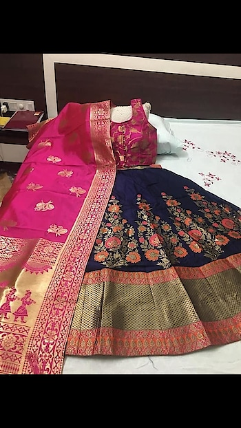 Beautified Banarasi Lehenga with Readymade Blouse Limited Stock ♥ To Order WhatsApp us (+91) 8097909000 Price:- 3620/- Lengha FABRIC- Banarasi Thread work Lengha & Banarasi Duppta BLOUSE - Stitch blouse with padded  Note (semi stitch Lengha with the cane-cane Flair-4mtr, Length-42, Blouse size 36-38 2inch margin extra inside) * * * #lehengas #weddingwear #bridalwear #partywear #banarasi #banarasicollection #banarasilehenga #partywearlehenga #indianwedding #desiwedding #bride #desibride #indianbride #designer #onlineshopping #wedding #ethnic #beautiful #blue #blouse