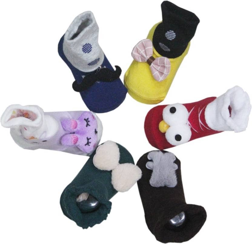 Toys Factory TOYS FACTORY SOCKS BOOTY SET OF SIX PAIRS Booties  (Toe to Heel Length - 10 cm Multicolor)  Material: Cotton For Baby Boys & Baby Girls Size in Length: 10 cm Color: Multicolor  https://bit.ly/2DRIOHX