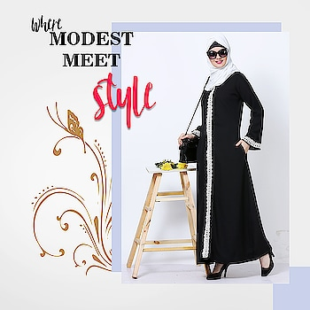 Be stylish and sophisticated with our lovely black abaya crafted in luxury and adorned with meticulous lace detailing for understated elegance! Shop Now : https://bit.ly/2vAxHyv #abaya #hijab #traditionalclothing #outfits #muslimahchamber #frontopenabaya #muslimwomen #muslimgirl #hijabista #islamicwear #hijabfashion #hijabonline #hijabstyle #hijabootd #abayaindia #abayadress #abayamoden #abayalover #abayashop #abayafashion #embroideredabaya #blackabaya #blackhijab #hijabista #hijaboutfit #hijabmuslim #hijabi #islamicwear #islamicfashion #muslimahwear