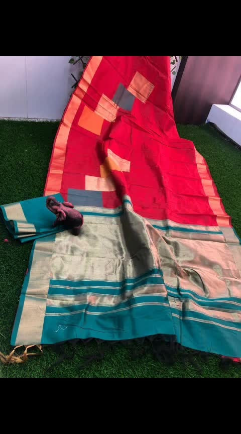 #slhr #₹1299WithFreeShipping  ~Raw silk saree with zari pallu ... ~zari border with allover  geometrical design blouse contrast...available colours
