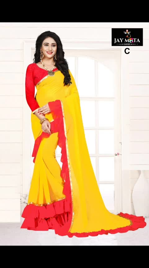 Introducing frill ruffled light weight sarees: 🥳😍🤩 Redefine and embrace glamour with a twist.  Saree border enhanced with frill. Shimmer Classic Georgette Designer Frill Ruffled Saree with the cheapest price ever. For just RS 699. Straight from various states to your doorsteps.