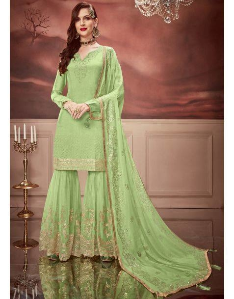 Dress to impress at the next Festive Occasion with this #fetching #green #partywear #sharara #style #suit  @https://www.manndola.com/fetching-green-party-wear-sharara-style-suit  Presenting Luxury Festive Collection for this Eid, launched in our New Floral Nagma. A Fetching Green Party Wear Sharara Style Suit Comes With Russian Silk Kameez, Dyed Net Bottom and Dyed Santoon inner. This Beautiful apparel comes with Zari Embroidery and Stone Work that adds Grace to the Whole Dress. The Daisy Chiffon Dupatta with Foil Print and Four Sided Ready Lace makes your Dress Exquisite.   Grab Up To 65% OFF. Get additional 10% OFF on all orders above $199 using code EID10 & extra 15% OFF on all orders above $299 by using code EID15 !!  #newarrivals #newlaunch #partywearwear #partyweardresses #shararastylesuit #russiansilk #dyednet #santoon #shoponlinenow #embroidery #green #wedding #reception #eveningwear #occasion #style #photography #eidcollection #instamood #instaupload #fashion #indianfashion #ethnic #usa #india #canada #australia #dubai #uae #mauritius #london #uk #netherlands #paris #shoponline