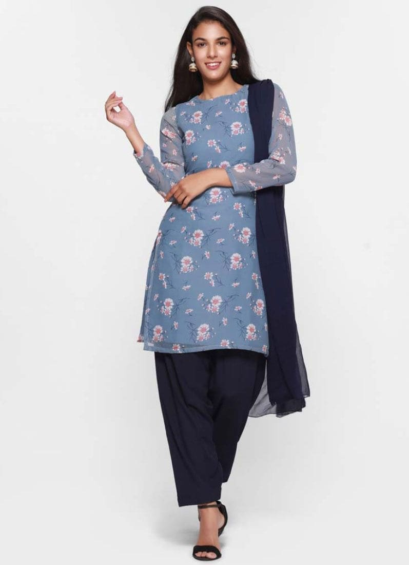 Diya Online - Floral Printed Blue Georgette Full Sleeve Dress  Shop Now - https://www.diyaonline.com/ditsy-floral-print-tonal-salwar-suit-ls-4132.html  #dress #floraldress #eidshopping #eidcollection #womenfashion #diyaonline
