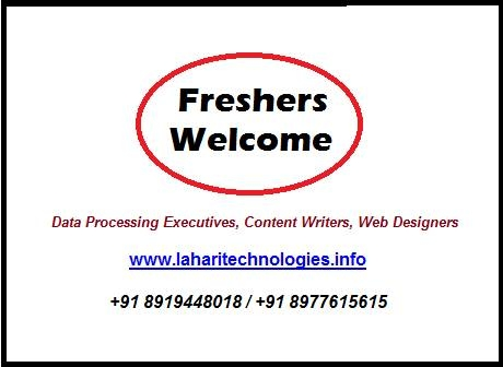 Job Openings in Lahari Technologies - Ameeerpet and ECIL - 8977615615   Tele Callers:  Female candidates with good communication skills. Freshers welcome  Data Processing Executives :  Having typing skills and Web Searching and Knowledge in Social Media Preferred. Freshers and experienced below 28 years.   Sales executives:  Graduates with good communication skills. Freshers and experienced below 28 years. Both male, female candidates can apply.   Address   203, Prashanthiram Appartment, Saradhi Studio Lane,  Ameerpet, Hyderabad - 500016.   Phone : 8977615615   www-laharitechnologies-info    #websitedesignjobs #ameerpetjob #jobsinhyderabad #walkinjobs #dataentryjobsinhyderbad #dataprocessingjobsinameerpet #telecallersjobsinameerpet #fresherjobsinameerpet #developerjobsinameerpet #jobvacanciesinsecunderabad #jobsforfreshers #jobopeningsinhyderabad #latestjobpostinginhyderabad