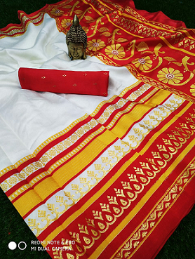 *****Red and White concept pattern with designer border with exclusive pallu***** with contrast blouse piece Contact : 98254 42027 Saree cut : 6:30 mtr blouse piece : contrast #indian-festival #wedding #puja #pooja #ethnic-wear #nari-in-sari #saree
