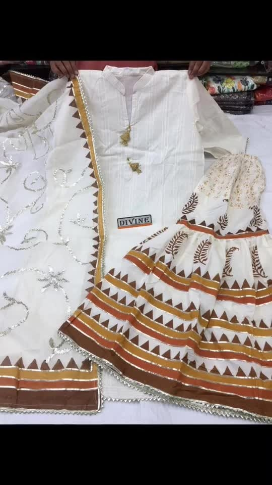 Rate:2150/- 🧚‍♀DIVINE PRESENTS  Beautiful cotton shirt semi stich size 46 Cotton stiched garara size 44 Cotton  dupatta with gotta work   Restock on huge demand