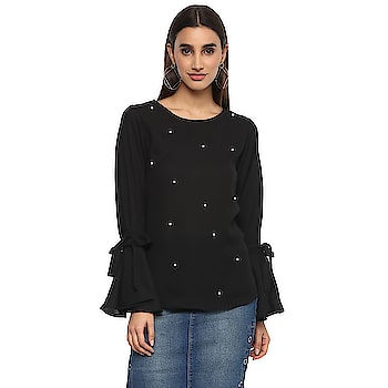 Casual Bell Sleeve Embellished Women Black Top  https://bit.ly/2GpQlhA