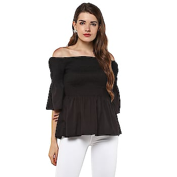 Casual Bell Sleeve Solid Women Black Top  https://bit.ly/2KSU8cu
