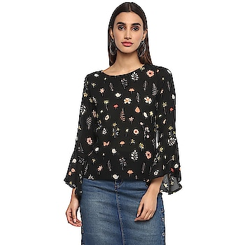 Casual Bell Sleeve Printed Women Black Top  https://bit.ly/2KTIq1q