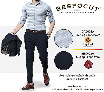 H Lesser & Sons B Inspired Bespoke Style #1  Contact us @ 1800 1200 388 Website: www.bespocut.com  #bespocut #bespocutexperience #bespokeexperiencezone #binspired #hlessernsons #suits #shirts #fabrics