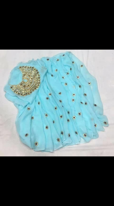 #apr #₹1699withfreeshipping  *Pure chiffon  Saree with beautiful  gotta handwork butti ol over Saree with heavy handwork blouse pice*
