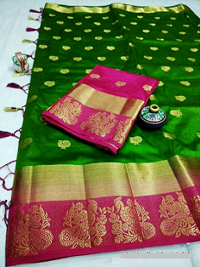 *****Royal Raw Silk Saree***** with contrast border and pallu and matching tassels with pallu matching blouse piece Contact or WA : 98254 42027 available in all wedding wear colors #traditional #wedding-outfits #nari-in-sari #saree #rawsilk #ethnic-wear