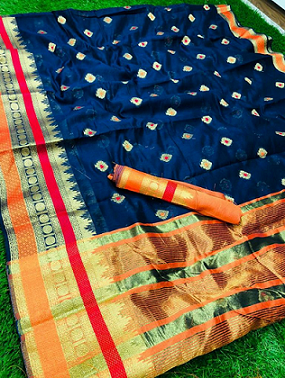 ****Comfy Cotton Silk**** with jacquard weaving border and butti all over with border matching blouse piece Contact or WA :98254 42027 #nari-in-sari #silksaree #silksurat #thebazaar #online-shopping #wedding #ethnic-wear #cottonsarees