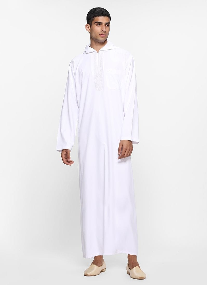 Diya Online - Men White Threaded Hooded Juba  Link: https://www.diyaonline.com/white-threaded-hooded-juba-jb-2001.html  #JUBA #diyaonline #eidshopping2019 #EID2019 #roposo #roposodiaries #mensfashion