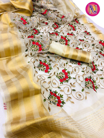 ****Wedding wear Organza Saree with zari weaving and embroidery jaal work**** Contact or WA : 98254 42027 with matching blouse piece #organza #traditionaldesign #embriodered #thebazaar