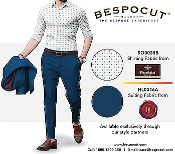 Rochia H Lesser & Sons Bespoke Style #5  Contact us @ 1800 1200 388 Website: www.bespocut.com  #bespocut #bespocutexperience #bespokeexperiencezone #rochia #hlessernsons #suits #shirts #trousers #fabrics