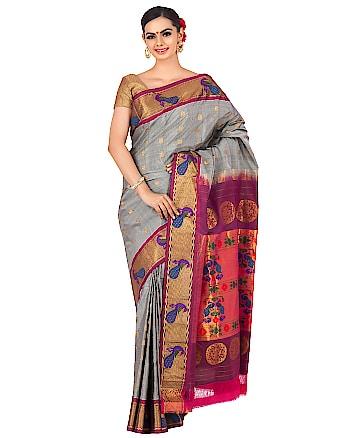 Grey peacock border paithani. Shop now at http://bit.ly/2HpSs6D #designersaree #ethnicsaree #handloomsaree #weddingsaree #bridalsaree #paithani