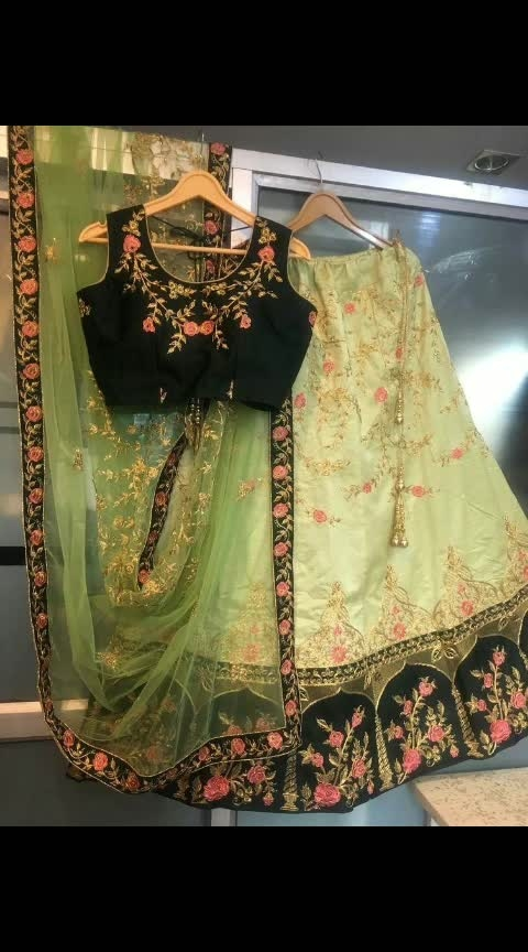 *_LEHENGA DETAIL_* _FABRIC : Banglory Satin_ _Semi Stitched_ _Work : Multi Embroidery_ _Up to 42 Size (LENGTH : 44)_  *_CHOLI DETAIL_* _FABRIC : Banglory Satin_ _Work : Embroidery_ _Un Stitched 0.80mtr_  *_DUPATTA DETAIL_* _FABRIC :Net_ _WORK : Embroidery and Embroidered lace_ _ 2.1 mtr_  #instagood #ethnicearrings #ethnicwear #indianwear #indianwedding #indianweddingdress #weddingdress #wedding #kurta #kurti #dupatta #pallazo #pink #pinksuit #indian #lehnga #lehngacholi #green