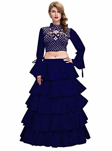 Florely Women #Banglori Satin Blue Embroidered #Lehnga #Choli With #Blouse Piece @ Rs.699. Buy Now at http://bit.ly/2w6JtRr