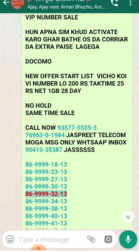 *VIP NUMBER SALE*  *AIRTEL IDEA VODAFONE VIP NUMBER SALE SIM ONLY 400 RS NET CALL FREE 28 DAY CALL NOW 93577-5555-3 90415-35387 JASPREET TELECOM MOGA MSG ONLY WHTSAAP INBOX 90415-35387 JASS*      *A I R T E L*  *98789-44-8-44* *98782-44-9-44* *97792-55-8-55* *97793-55-9-55* *98761-77-4-77* *99157-88-2-88*  *70875-77-0-77* P  *98-786-0-52-50* *98-786-0-76-61* *98-786-0-77-47* *98-786-0-54-31* *98-786-0-92-40* *98-786-82-86-1* *98-786-83-2-12* *98-786-56-1-25* *98-786-99-8-60* *98-786-39-8-37* *98-786-31-5-83*       *I D E A*  *98554-00-529* *98558-00-495* *98554-00-583* *98554-00-593* *98553-00-824* *98553-00-861* *98552-00-863* *98552-00-873*  *98-555-2-00-49* *98-555-4-00-83*  *98-555-21-7-21* *98-555-26-4-26* *98-555-27-4-27* *98-555-29-2-29* *98-555-36-7-36* *98-555-38-3-38*  *98558-18-3-18* *98557-21-5-21* *98557-26-1-26* *98556-34-2-34* *98556-37-9-37*  *PORT REDDY*  *ONLY COD*  *1500 RS*  *8285-3-000-16*  *PORT REDDY* *ONLY COD*  *500 RS*  *98568-0-1100* *98568-0-2200* *98567-0-4400* *98568-0-5500* *98568-0-6600* *98568-0-7700* *98567-0-8800* *98568-0-9900*  *VIP NUMBER SALE*  *PORT REDDY ONLY COD 1000 RS NO HOLD*  *80-8-31-78-000*  *96146-41-786* *96146-42-786* *96146-43-786*  *96146-45-786*  *96146-47-786* *96146-48-786*  *96146-49-786*  *PORT REDDY 1500 RS COD PYEMENT KARO COD LO*   *80-1-38-38-786*   *98722-0-5911*    *90413-6-000-9* *90568-2-000-9*  *PORT REDDY 1000 RS PYEMENT PYTEM KARO.COD LO*  *98-786-37-9-37* *98-786-57-2-57* *98-786-78-7-78*  *VIP NUMBER SALE*   *PORT REDDY*    *FIX PRIZE SIM*  *2500 RS*  *7658-0000-92*  *PYEMENT PYTEM KARO.COD LO*   *PORT REDDY 1000 RS PYEMENT PYTEM KARO.COD LO*   *76579-10-10-0*  *76962-0-3600* *86994-0-3600*  *7658-00-4800*  *7658-00-1800* *7658-00-8100*  *90410-13-13-5*  *90415-13-13-5*   *90566-0-9200*  *90411-0-9595*  *76579-0-1300*  *76967-0-1300*  *89684-0-1984*  *86-999-88-00-6*  *PORT REDDY 500 RS PYEMENT PYTEM KARO.COD LO*  *98-786-65-3-48*   *98-555-37-4-32*   *95013-33-6-13*   *9-8-7-6-5-57-505*   *70-8-