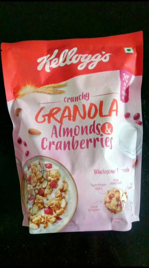 The Kellogg's Granola! It's full of dried cranberries and almonds. Even the cereal part is so crunchy and tasty, I just keep on eating it dry, straight out of the box.  The price is a bit on the higher side, quantity is pretty less for the money paid. If you're just searching for a lip-smackingly delicious start of your day, look no further. It's the tastiest thing ever invented!  #kelloggs  #granola  #cranberries #almond #healthy #healthydiet #healthybreakfast #followmeonroposo #hungrytv #hungry #hungryalways