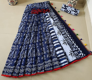 ****Royal Blue Block Print Cotton Saree**** with exclusive pom-pom lace with blouse piece Contact or WA  : 98254 42027 #blockprint #cottonfabric #thebazaar #online-shopping #designer-saree #ethnicwearonline