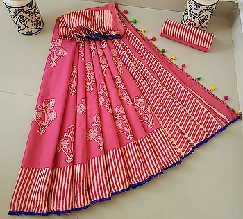 ****Preettiiee Pink Block Print Cotton Saree with contrast pom-pom lace**** With blouse piece Contact or WA :98254 42027 #ethnicwearonline #thebazaar #blockprinted #wedding