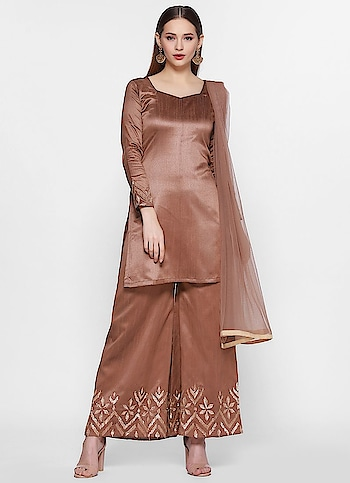 Diya Online - Metallic Embroidered Palazzo Suit  Shop Now - https://www.diyaonline.com/metallic-embroidered-palazzo-suit-ls-4049.html  #plazzosuit #embroideredsuit #diyaonline #eidshopping2019