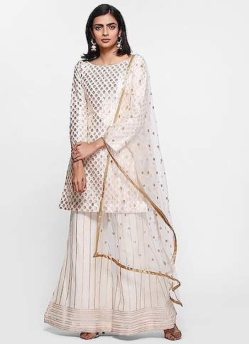 Diya Online - Ivory Embroidered Jacquard Palazzo Set  Shop Now - https://www.diyaonline.com/ivory-embroidered-jacquard-palazzo-set-ls-4036.html  #embroideredsuit #plazzosuits #eidshopping2019 #eidclothes #diyaonline #roposodiaries