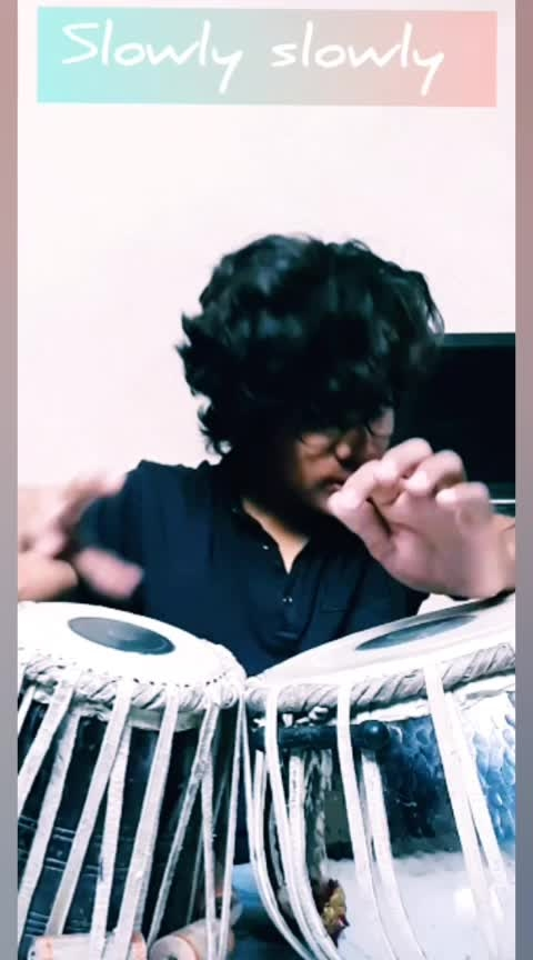 A cover for #slowlyslowly by #gururandhawa 🎵   #music #songs #tabla #cover 🎵