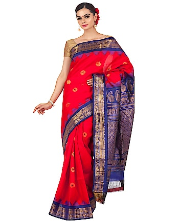 Red gadwal with purple border. Shop now at http://bit.ly/2W3aUL7 #silksaree #gadwal #gadwalsaree #handloomsaree #traditionalsaree #bridalsaree