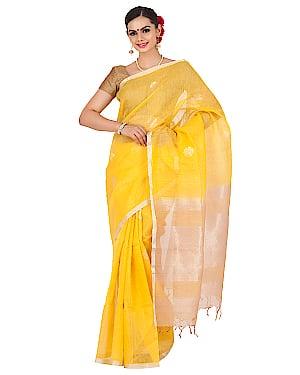 Yellow linen saree. Buy now at http://bit.ly/2VPEHCi #linensaree #silksaree #weddingsaree #ethniccollection