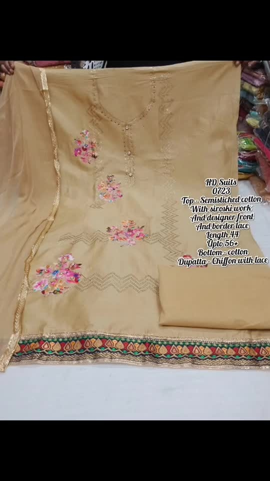 Rate:1250/-  Top - Semistiched cotton With siroski work  And designer front And border lace Length 44 Upto 56+ Bottom - cotton Dupatta - Chiffon with lace